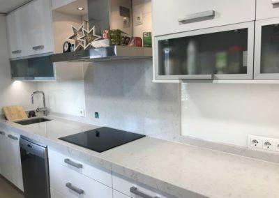 Vidrio blanco en cocina